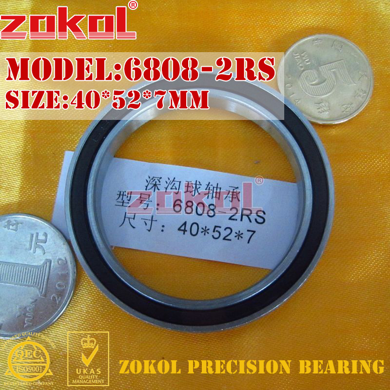 ZOKOL 6808 RS Bearing 6808 2RS ZZ 6808ZZ 6808-2RS  Deep Groove Ball Bearing 40*52*7mm