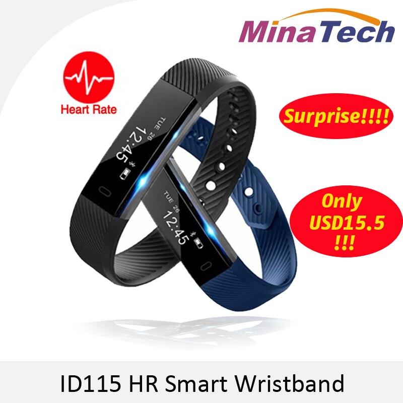 imágenes para Banda inteligente ID115 HR Pulsera Bluetooth Heart Rate Monitor de Fitness Tracker Podómetro Pulsera Para El Teléfono pk FitBits mi 2 Ajuste poco