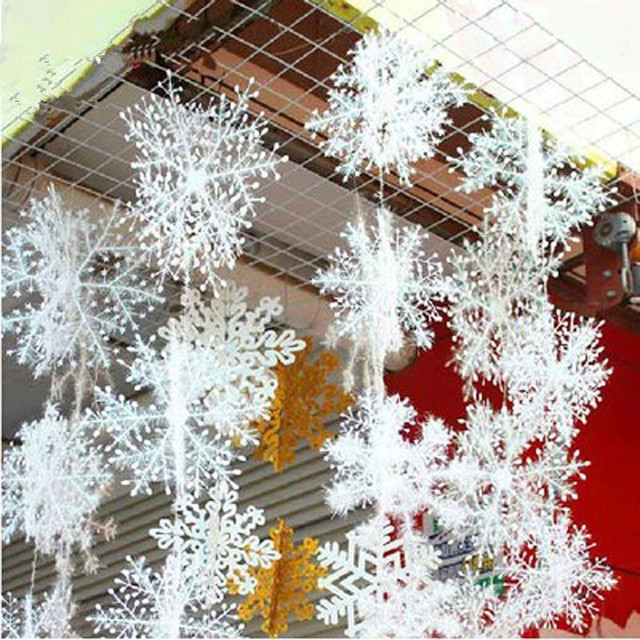 30pcs 11cm Christmas Tree Decorations DIY White Snowflake Plastic Artificial Snow For Home Decor