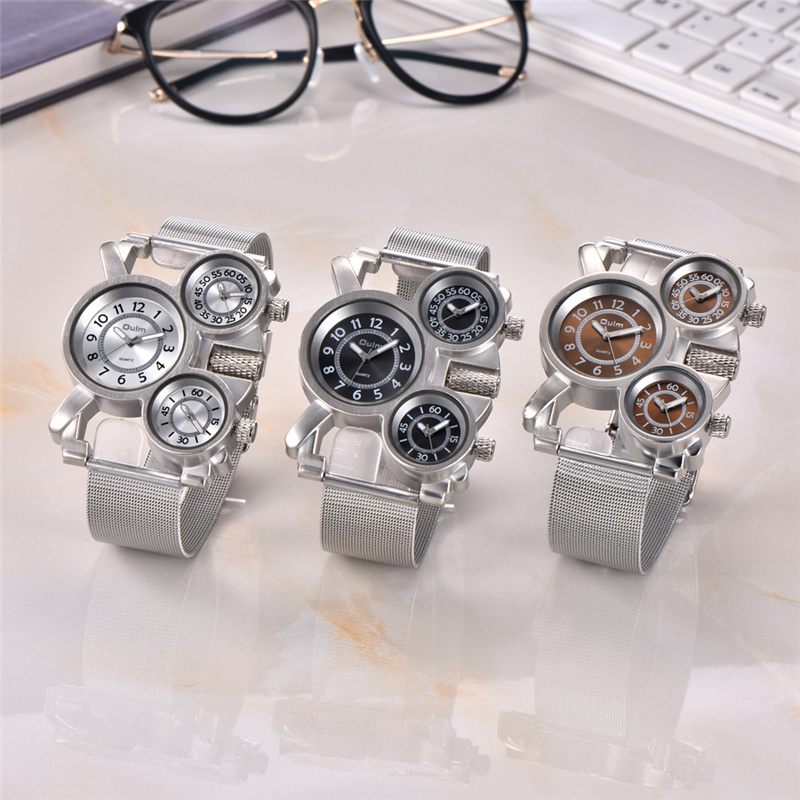 Image 5 - Oulm Mesh Steel 1167 Model Men's Watches 3 Colors 3 Time Zone Unique Male Quartz Watch Casual Sports Men Wristwatch reloj hombre-in Quartz Watches from Watches