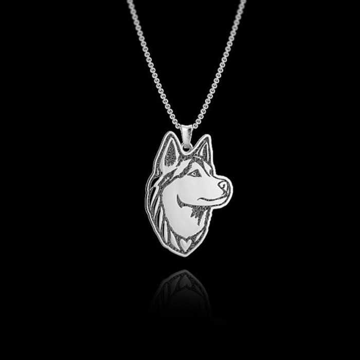 Daisies  One Piece Pendant Necklace Handmade Siberian Husky Wolf  Dog Necklace Animal Necklaces For Women Jewelry Collier Femme