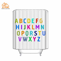 Memory Home Custom ABC Alphabet Waterproof Polyester Fabric Shower Curtain And Hooks Bathroom Decor White Shower