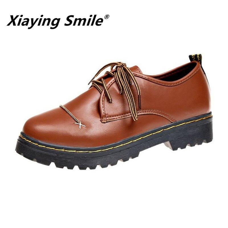 Xiaying Lächeln 2017 neueste Frühling Herbst Frau Britischen Stil Frauen Schuhe Casual Pantshoes Plattform Spitze Schuhe Pumpen Größe 35- 39