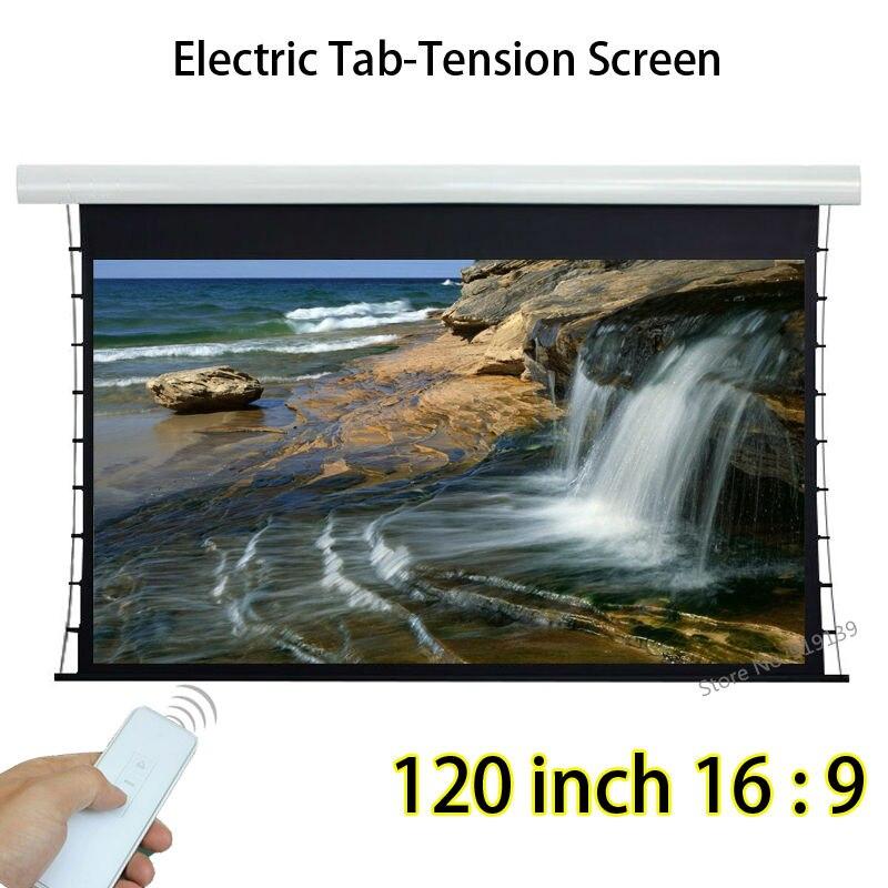 Tab tensor pantalla de proyección automática 120-pulgadas 2656x1494mm con 1,2 ganancia para proyector de cine en casa de oficina