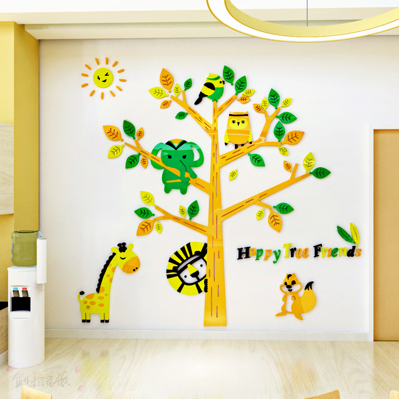 Cartoon creative animal tree 3d self-adhesive acrylic wall sticker Childrens room poster Kindergarten decorations