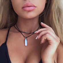 European and American vintage Bohemian Leather hexagonal crystal natural stone pendant necklace chain Jin S2230