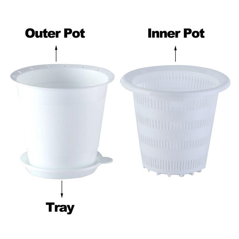 Image 2 - Meshpot 2PCS 4 Inches Slotted Orchid Pot With Holes Plasitc Garden Pot Planter Excellent Drainage,2 Inner Pot,2 Outer Pot,2 TrayFlower Pots & Planters   -