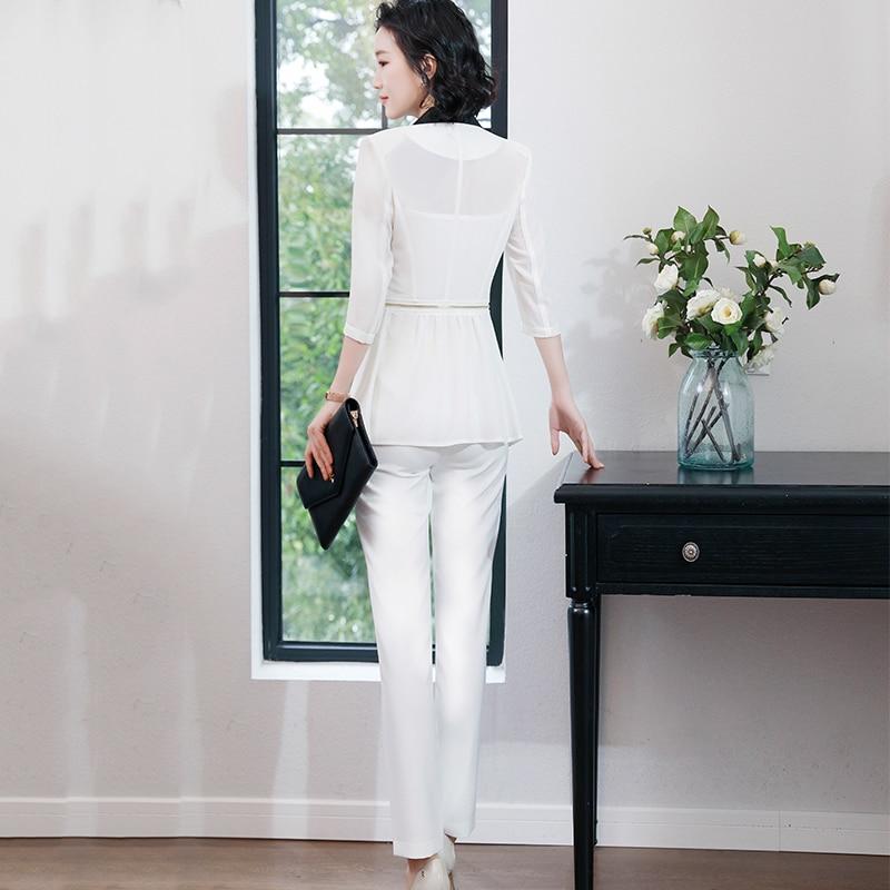 Office Costume Avec Ensemble Trimestre Femmes Trois Usure Pantalon Perspective De Pant D'été white Lady Suits Style Formelle Mode Black 2 Travail Pièces Suits Veste xUZwPP