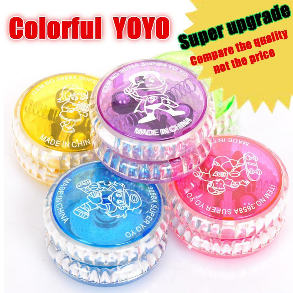 Colorful LED YOYO Ball Flashing Magic Rail Rolling Flywheel Toy Kids Play p Gift