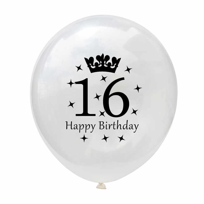 10 pçs/lote 12 Polegadas Balão De Aniversário 1/16/18/21/30/40/50/60 Anos Para Decorações Da Festa de Aniversário