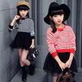 Fashion Chinese Style Girls Dress Cheongsam Design Striped Long Sleeves Mesh Splicing Girls Princess Dress Kids Party Clothing