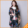 Sign National Wind cotton shirt autumn and winter large size middle-aged mother dress long section of thin cotton jacket #0359