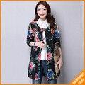 Sinal camisa nacional vento algodão outono e inverno tamanho grande mãe de meia-idade vestido longa seção de jaqueta de algodão fino # 0359