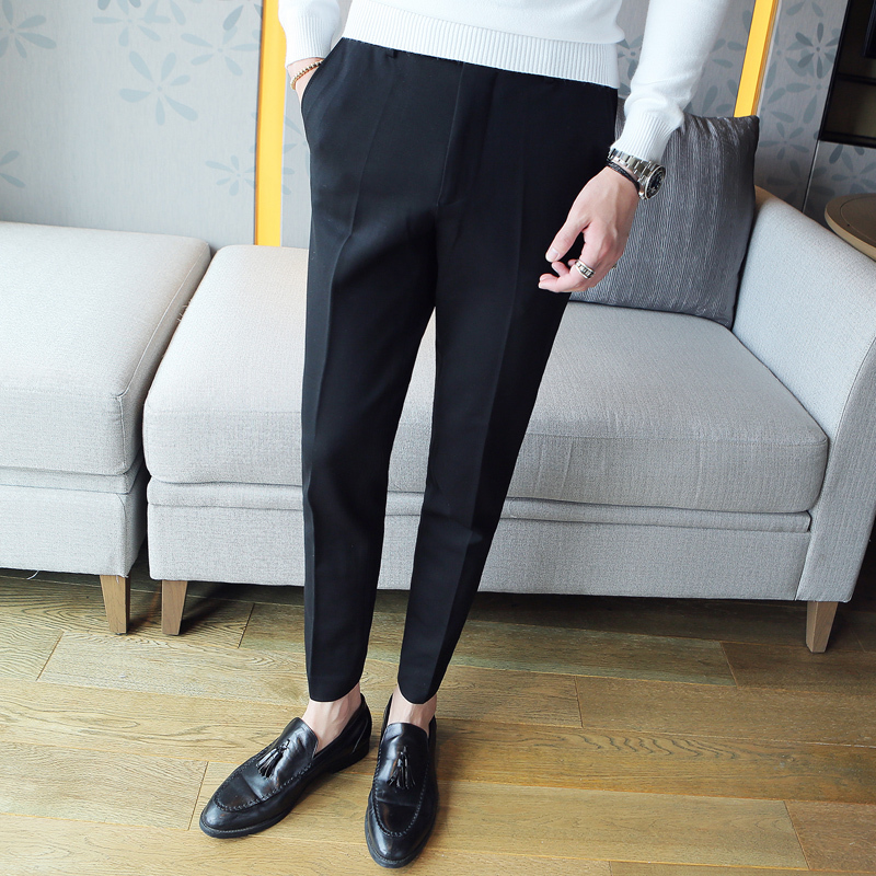 2018 Spring And Summer New Mens Suit Pants Slim Simple Solid Color Business Casual Fashion Wild Tide British Style ...