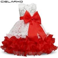 Cielarko Girls Dress Elegant Children Party Frocks Sequined Lace Baby Christening Dresses Kids Evening Clothing For