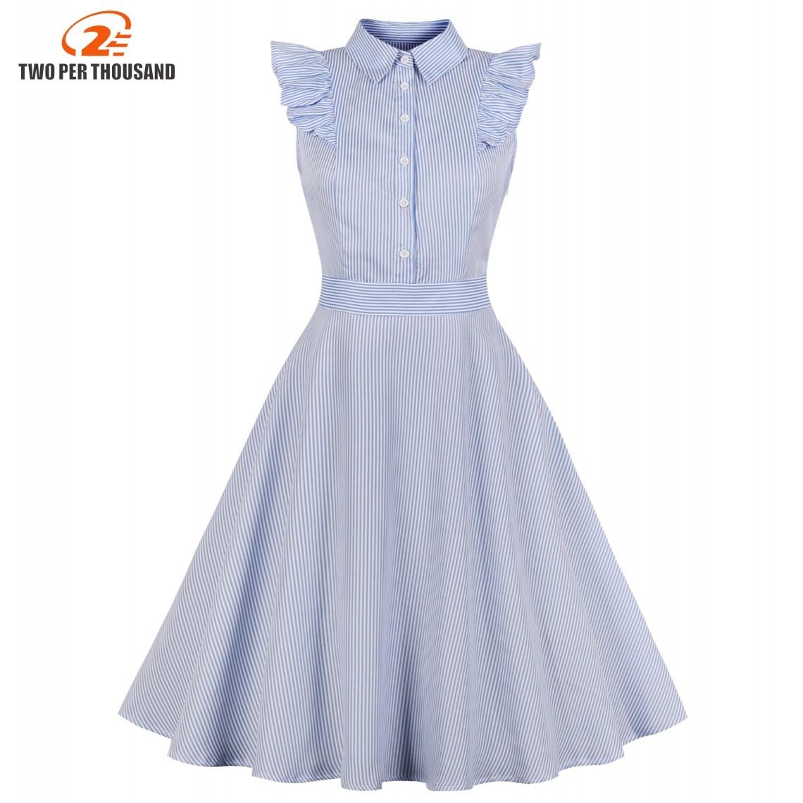 636aaa58f2798 SISHION Dandelions Print Vintage Dress 2019 New Sky Blue Plus Size ...