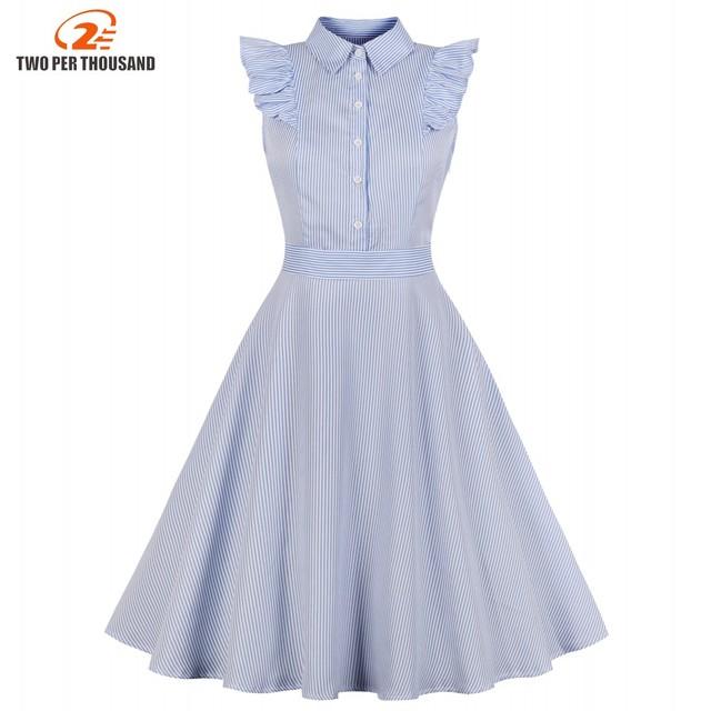 413c73e42f884 Women Summer Pin Up Polka Stripe Casual Party Shirt Dress Sleeveless Retro  Robe 60s 50s Vintage Rockabilly Swing Dress Vestidos