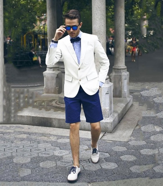 Casual White Men Blazer Blue Short Pants Summer Street Wear Smart Business Groom Tuxedos Beach Best Man Groomsmen Wedding Suits