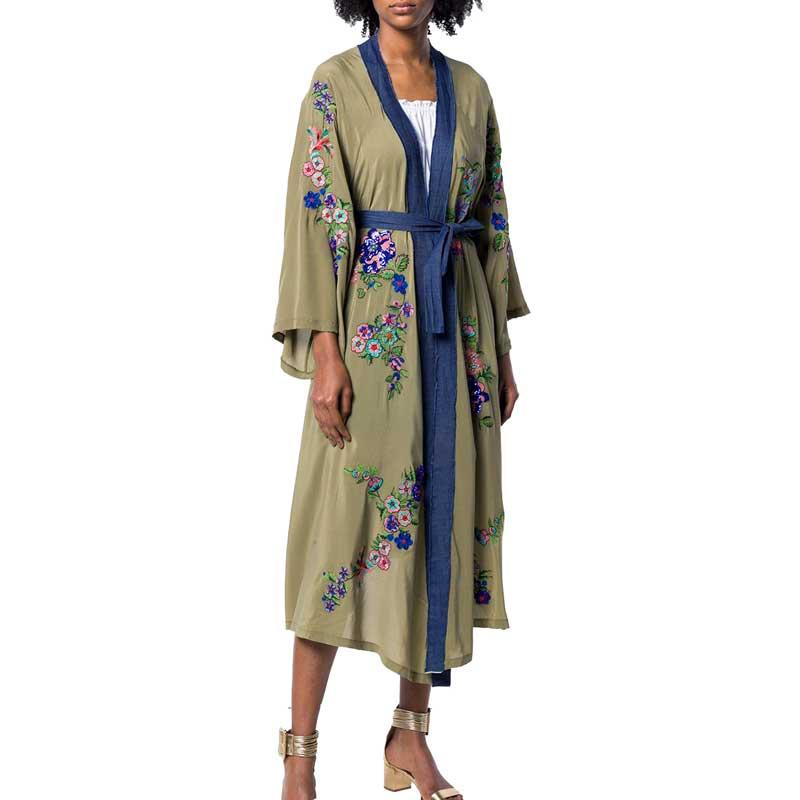 Kimono caftan brodé ouvert devant cravate taille Trench femmes plage Top contraste reliure été Long Trench manteaux Outwear - 5