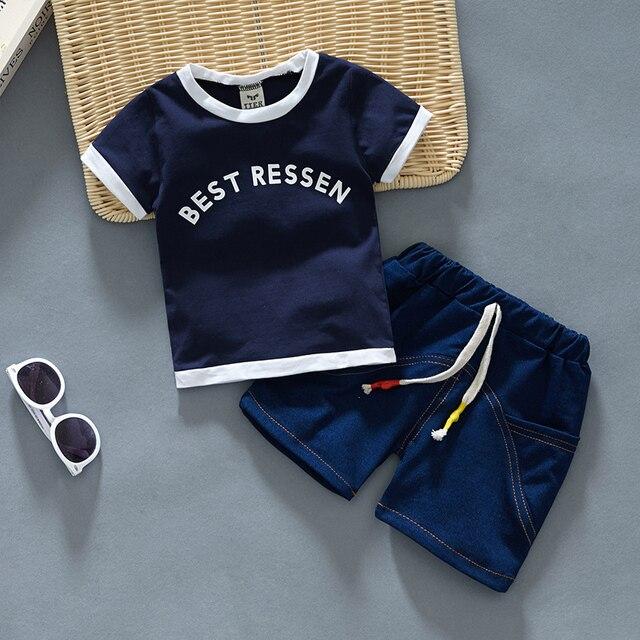 Newborn Baby Boy White Shirt And Blue Short 2Pcs Clothing Set 3