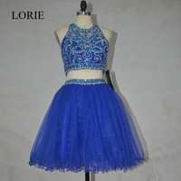Real Royal Blue Short Prom Dresses 2 Piece Rhinestone Beaded Sexy Keyhole Back Mini Cocktail Party