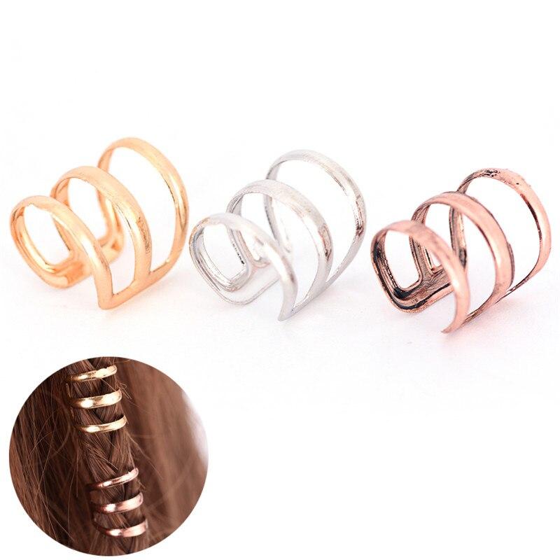 2 PCS/Lot Women Girls 1.5 CM Adjustable Dreadlock Beads Tube Ring For Braids Hair Beads  Braid Cuff Clip Cute