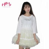 Nowa Moda Organza Spódnica Koszula Dla Dziewczyny Śliczne Białe Kobiety japoński Litery Graficzne Lato T Shirt Kobieta Kawaii Welon Bawełna topy