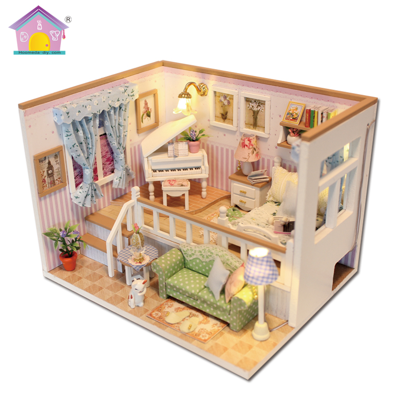 Hoomeda New arrival Miniature Wooden Doll House With DIY Furniture Fidget Toys For Kids Children Birthday Gift Living Room M026 in Doll Houses from Toys Hobbies