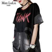 Max LuLu Luxury Japan Brand Girls Harajuku Streetwear Womens Denim Patchwork T Shirts Jeans Summer Tops