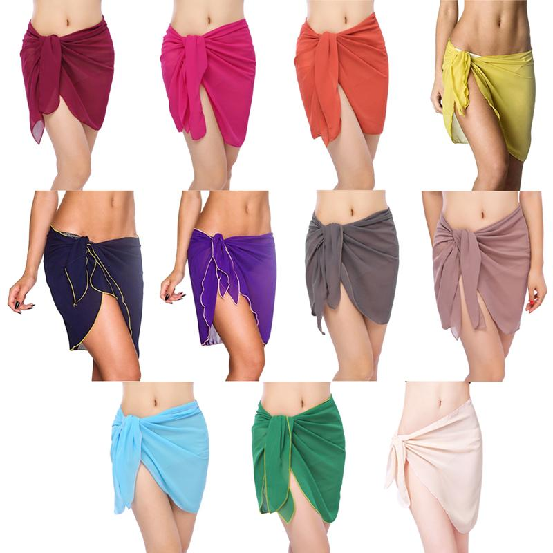 28b9b2ca90 11 Colors Sexy Swimwear Women Beach Skirt Solid Color Chiffon Cover Up  Bikini Wrap Beach Sarong