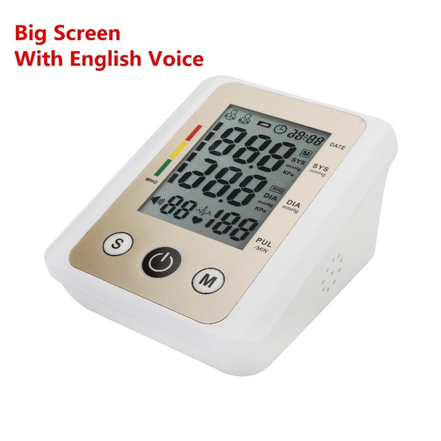 Big screen with English voice automatic digital arm blood pressure monitor tonometer for measuring high blood pressure meter