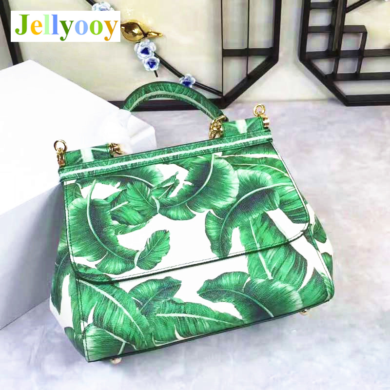 Banana Leaf Print Bag 2018 Women's Tote Bag, Genuine Leather, Fresh Green Handbags, Lxuury Brand Women Bags, High-end Design Sac stylish women s tote bag with clip closure and crocodile print design