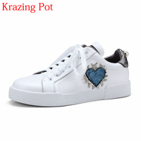 2018 Fashion Genuine Leather Lace Up Increased Casual Pregnant Round Toe Sneaker Love Patterns Causal Women
