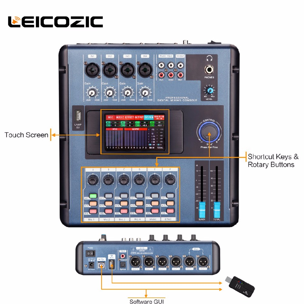 Leicozic MD200 Mini font b Digital b font mixer linking to PC by WIFI or USB