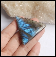 Trendy Triangle Shape Labradorite Gemstone Cabochon Semi Gem Wholesale Jewelry Gift Gem Customized 47x37x4mm 10 85g