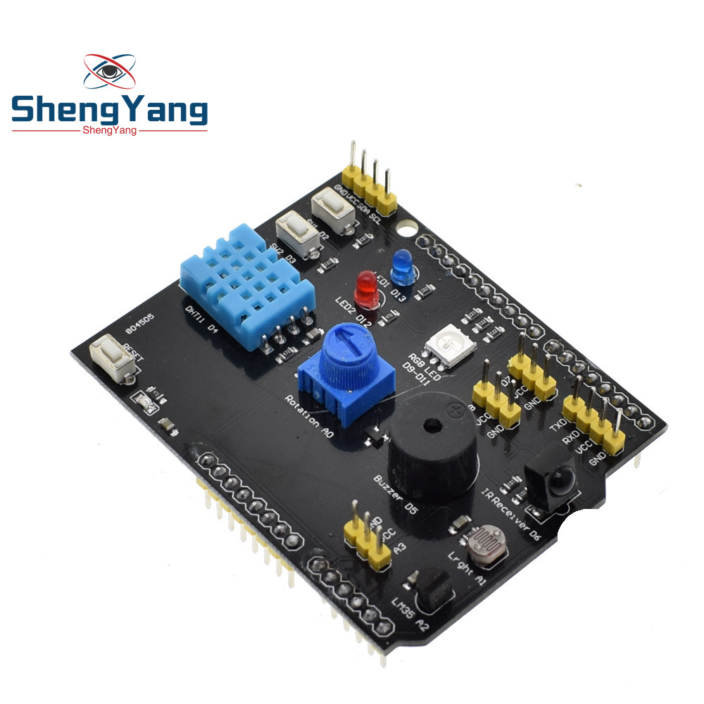 Dht11 Lm35 Temperature Humidity Sensor Multifunction Expansion Board Infrared Receiver Circuit Group Picture Image By Tag Adapter For Arduino Uno R3 Rgb Led Ir