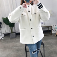 Women Sweater New Korean Elegant Artificial Mink Cashmere Cardigan 2019 Fashion Button Long Sleeve Cardigan Warm Jumpers