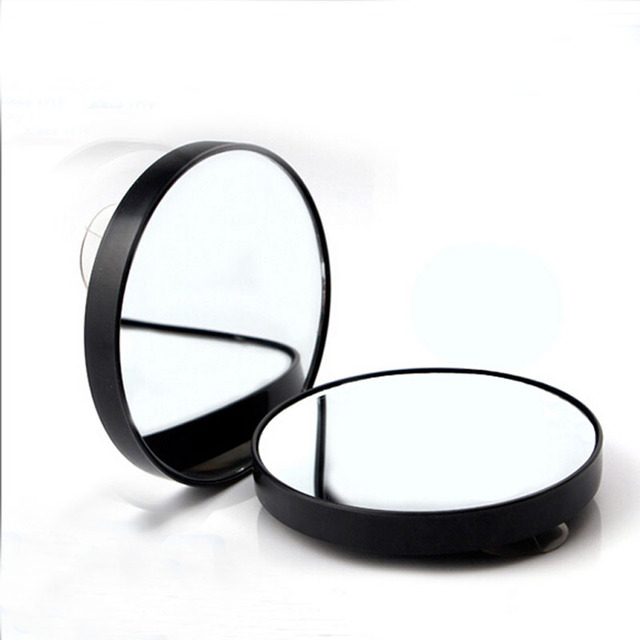 Magnification Black 10x Makeup Mirror Magnifying With Two Suction Cups Tools Round