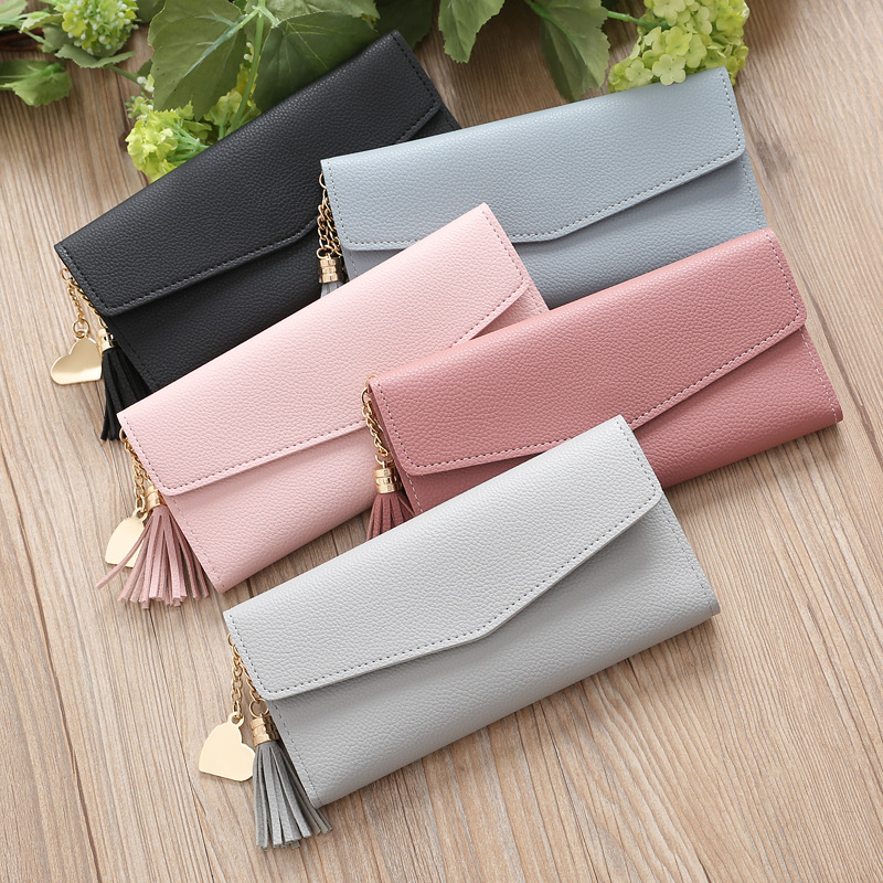 Women Long Wallet Tassel Fashion Coin Purse Card Holder Wallets Female Clutch Money Bag PU Leather Wallet
