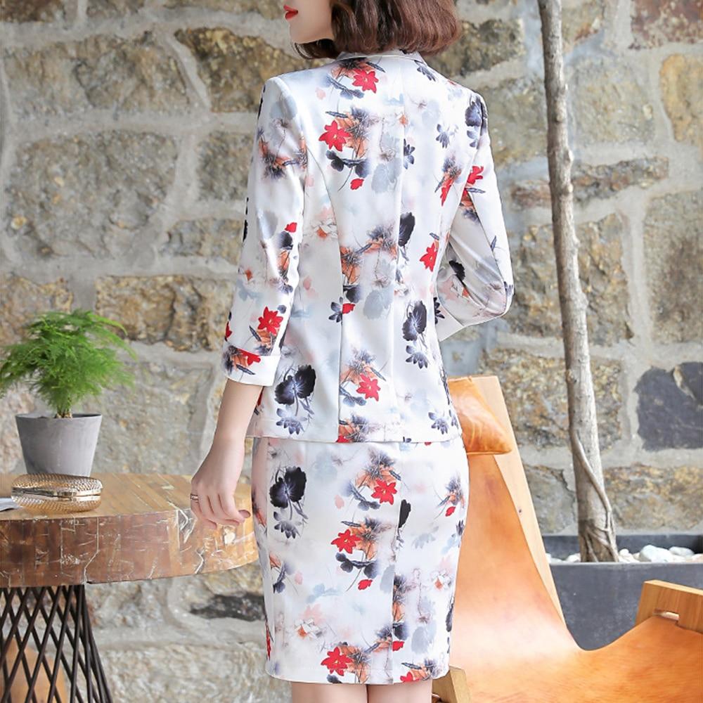 FTGSDLONG 2019 Women 2 Piece Blazer Set New Fashion Dress Suits for Lady Full Button Flower Print Blazer and Sleeveness Dresses