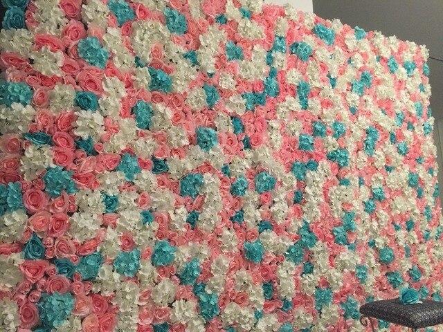 Muro Sfondo Di Nozze Rose Ortensie Artificiale Fiore Di Seta Rosa