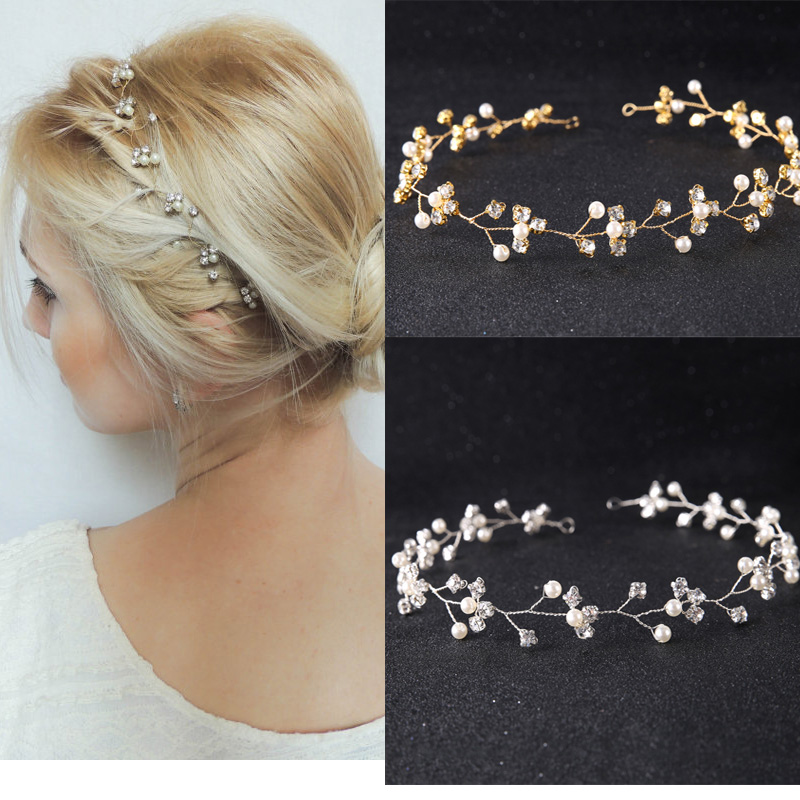 Bridal headband Wedding Hair accessories tiara handmade Crystal headpiece Wreath Bride Jewelry for women Bridal Hair Accessories