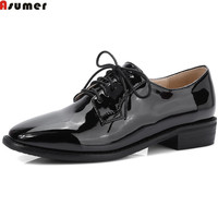 ASUMER Black Wine Red Fashion Spring Autumn Ladies Flat Shoes Square Toe Lace Up Casual Square