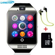 Купить онлайн Langtek Смарт-часы Сенсорный экран синхронизации Notifier Поддержка sim-карты Bluetooth Подключение для IOS телефона Android pkgv18 gt08 dz09