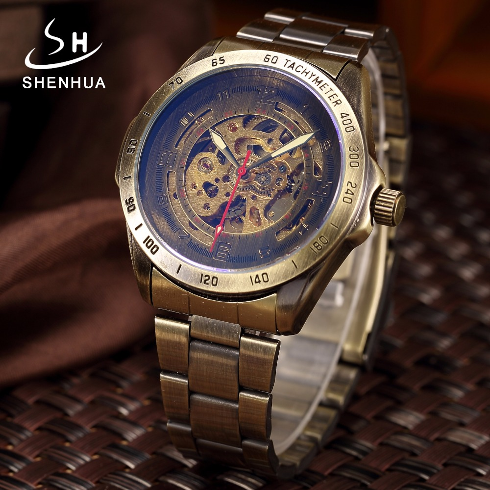 купить Bronze Metal Mechanical Automatic Skeleton Watch Men's Antique Steampunk Self Winding Wrist Watches Clock Men relogio Masculino по цене 1082.02 рублей