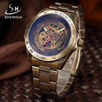 Bronze Metal Mechanical Automatic Skeleton Watches Antique Mens Self Winding Wrist Watch Clock Men Relogio Masculino