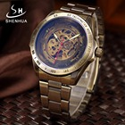 Mechanical Mens Watches Automatic Skeleton Watch Men Antique Bronze Plated Metal Steampunk Male Wrist Watches Automatic Clock