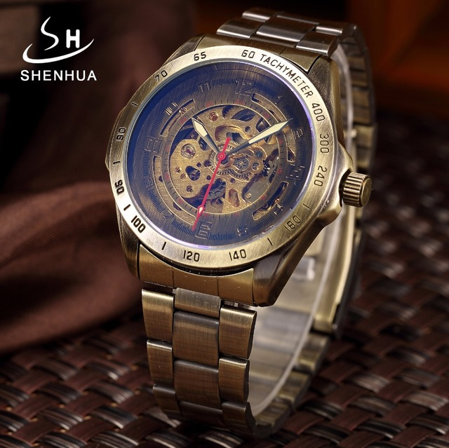 Vintage Bronze Automatic Watch Skeleton Men Watch Steampunk Transparent Mechanical Mens Watches Full Metal Clock montre homme