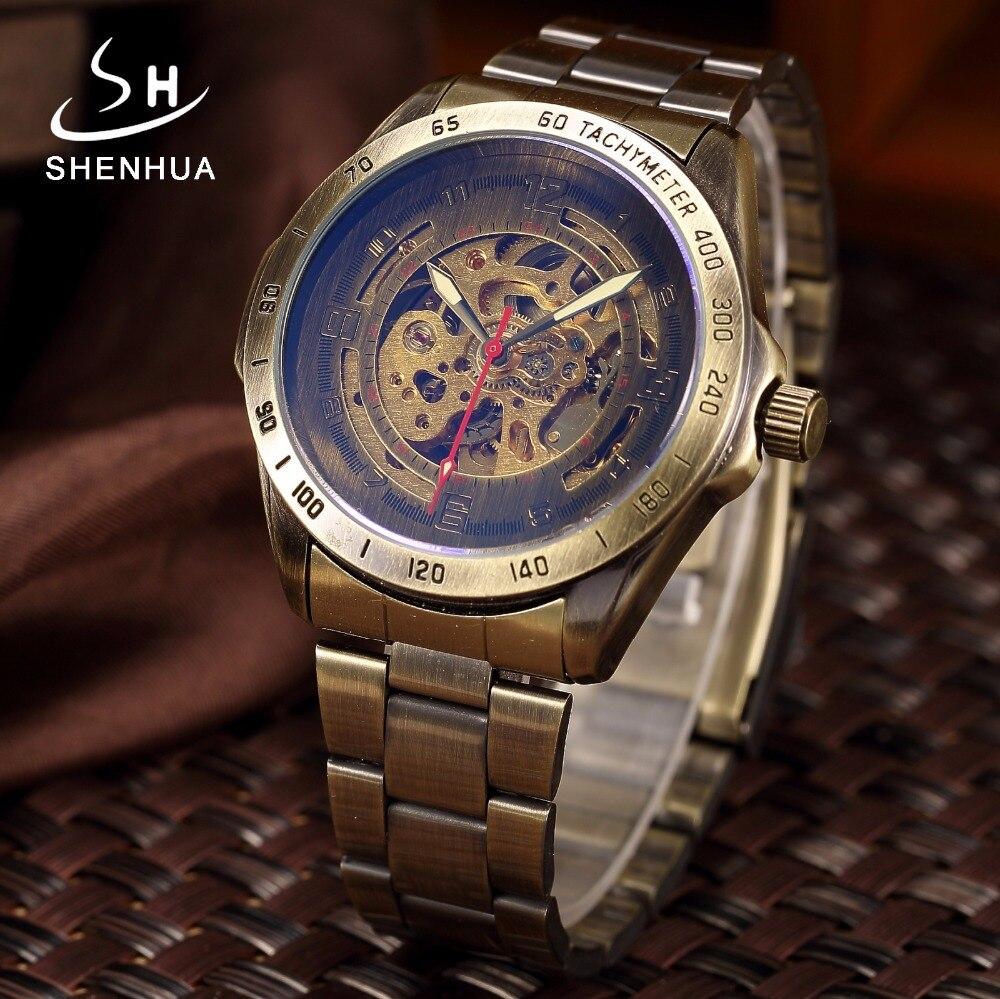 Vintage Bronze Automatische Uhr Skeleton Männer Uhr Steampunk Transparent Mechanische Herren Uhren Voller Metall Uhr montre homme