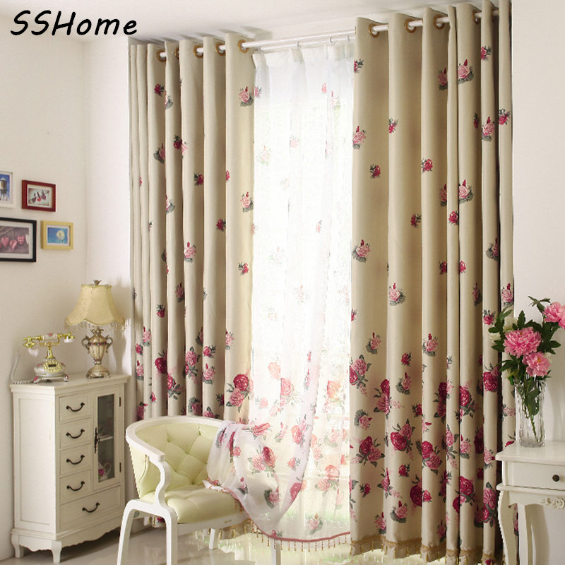 full shade cloth curtain rustic crystal crystal rose red flowers window curtains curtains. Black Bedroom Furniture Sets. Home Design Ideas